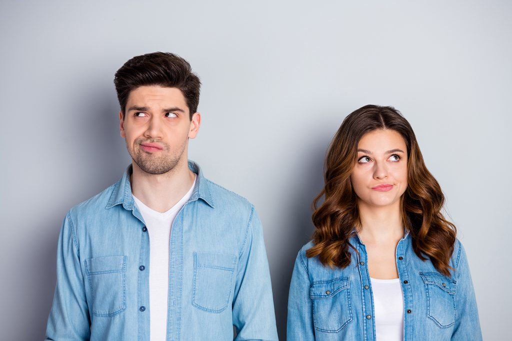 Portrait of pensive unaware spouses fellows look copyspace think thoughts decide freelance decisions choose choice solution wear casual style outfit isolated over gray color background