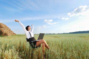 thriving worker in field