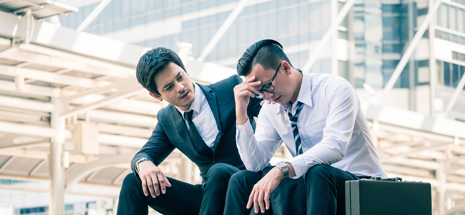 Frustrated Asian Young Business Man Sitting Outdoor Office After